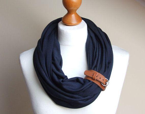 Infinity Fashion Circle Scarf Shawl Loop with leather by Zojanka, $20.90