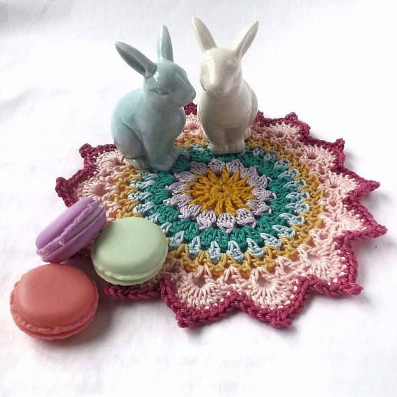 This pretty crochet mandala is perfect to add to your tea party table. A lovely home decor item.  Mandala Crochet Mandala Crochet Doily Doily Table Mat