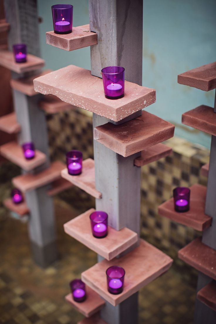 Add candles to the Terrace fountain for a personalized look. Photography by La Bella Vida. Venue - The Clayton on the Park wedding venue Scottsdale. #wedding #fountain #candles #decorating #ideas #purple