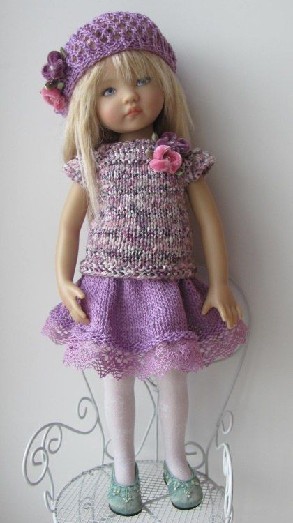 """OOAK Hand Knit Doll Outfit Set for Doll 13"""" Diana Effner"""