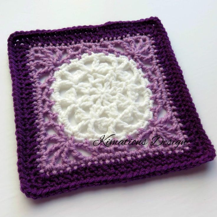"Evelyn 8"" Square - free crochet pattern by Kimberly Saunders."
