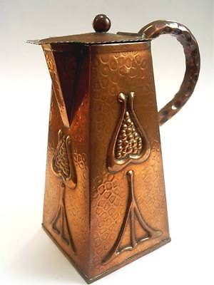 SUPERB ANTIQUE J&F POOL OF HAYLE/CORNWALL ARTS & CRAFTS COPPER LIDDED JUG