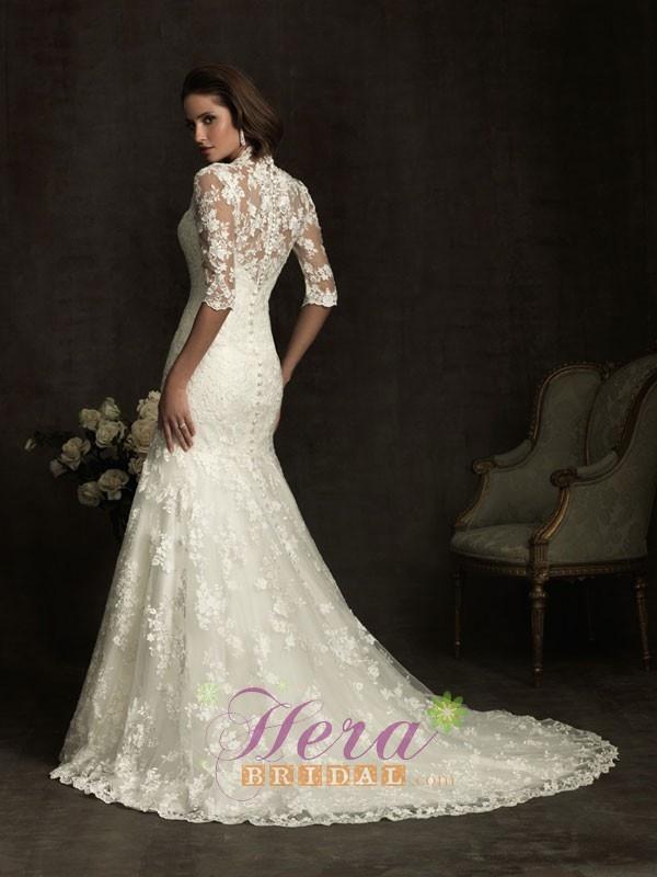 Mermaid trumpet bridal long sleeve lace wedding dress for Trumpet mermaid wedding dress with sleeves