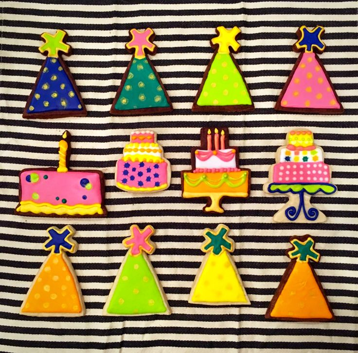 birthday cookies made by pamycakes. party hats. birthday cakes. bright birthday cookies