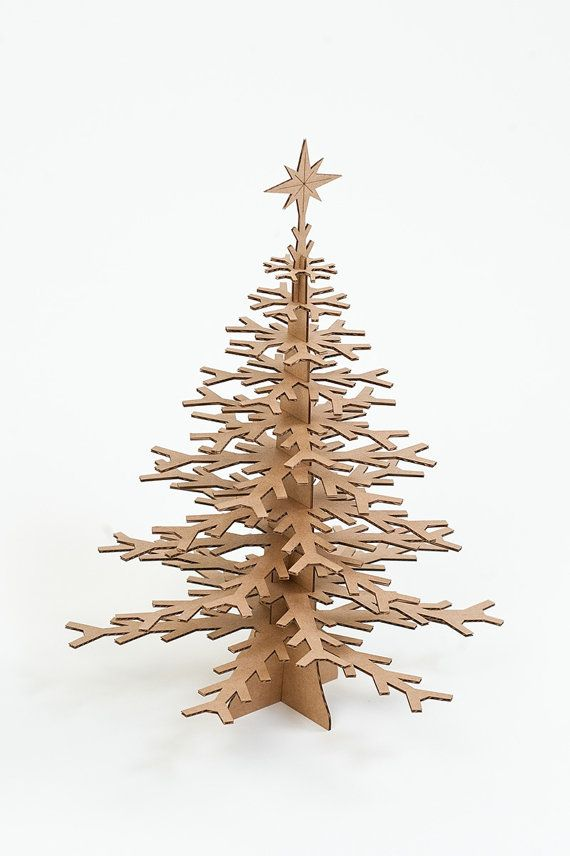 Minimalist Cdboard Christmas tree. Love it like this but would be fun for kids to decorate.