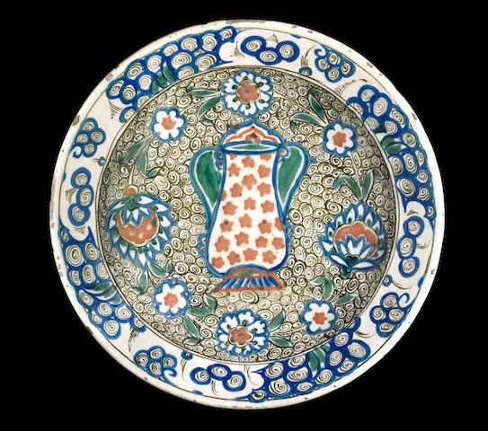 An unusual Iznik pottery Dish Turkey, late 16th Century