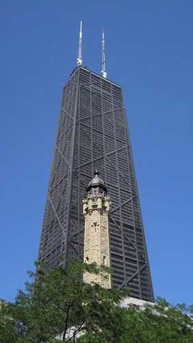 Chicago. Magnificent Mile - old Water Tower and John Hancock Building