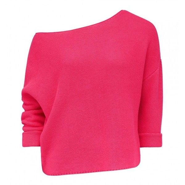 Claudia Slouch Batwing Jumper (165 BRL) ❤ liked on Polyvore featuring tops, sweaters, fuschia top, jumpers sweaters, batwing sweater, slouch sweater and slouchy sweater