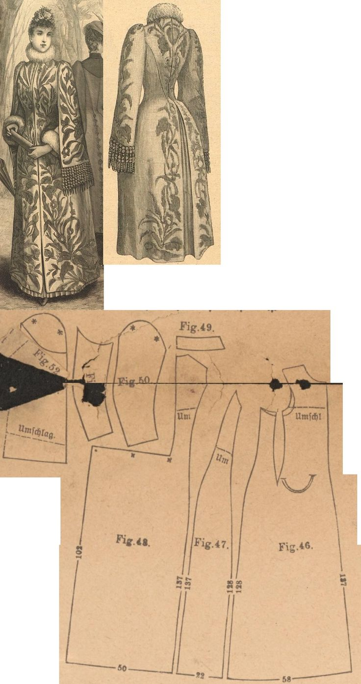 Der bazar 1889: Light brown cloth cape with atlas overlay; 46. front part, 47. side gore, 48. back part in half size, 49. collar in half size, 50. and 51. sleeve parts, 52. sleeve overlaping part in half size