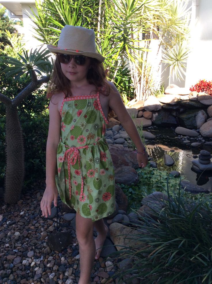 Girls sun dress in green floral with peach spot trim by VSLFashions on Etsy