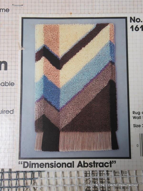 Vintage Latch Hook Rug Canvas Bucilla Modern Geometric Abstract NOS NIP 20 x 27 #Bucilla