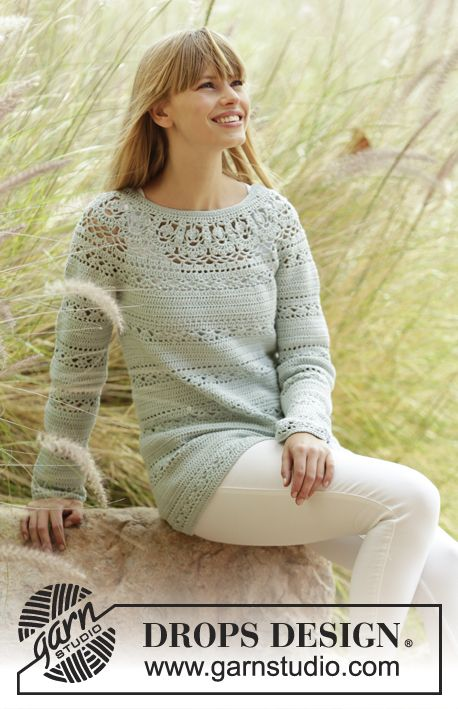 "Crochet DROPS jumper with lace pattern and round yoke in ""Safran"". The piece is worked top down. Free Pattern"