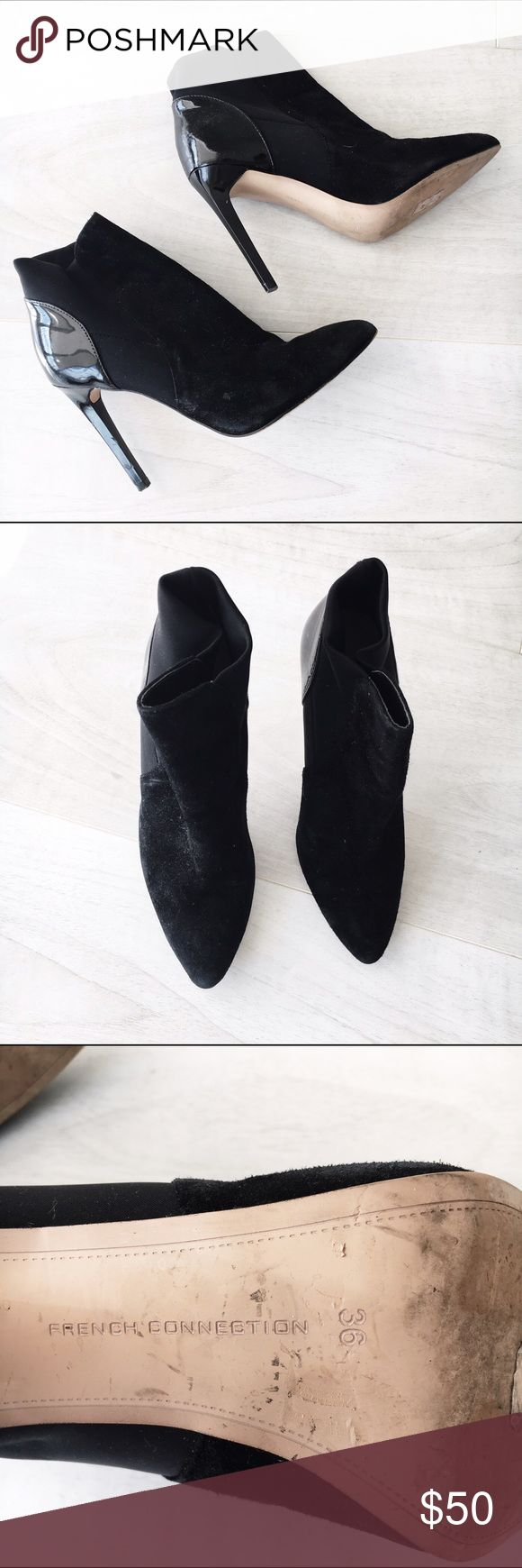 French Connection Suede + Patten Leather Booties Booties by French Connection, size 36 (US 6). Love these but couldn't fit my feet in them...I'm normally a 7! Worn once ✨ French Connection Shoes Ankle Boots & Booties
