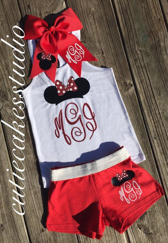This adorable outfit is perfect for going to a Disney Park or just everyday wear and the comfortable shorts and Tank are very lightweight and