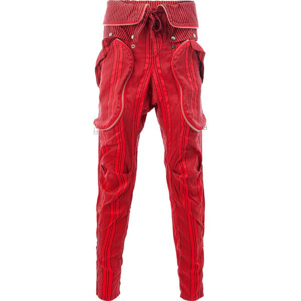 Faith Connexion striped trousers (€1.655) ❤ liked on Polyvore featuring men's fashion, men's clothing, men's pants, men's casual pants, red, mens silk pants, mens striped pants and mens red pants
