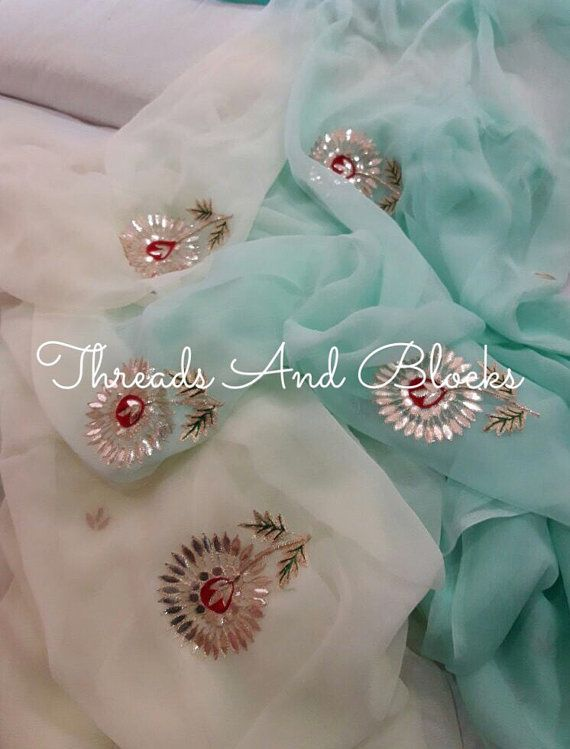 Pure Chiffon Saree with Gota Flowers by Threadsandblocks on Etsy