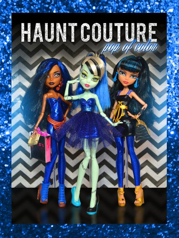 Monster Doll POP of Color COBALT BLUE 4 piece Collection w/ accessories