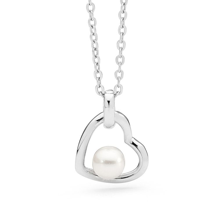 Necklace - PEARL HEART - Sterling Silver