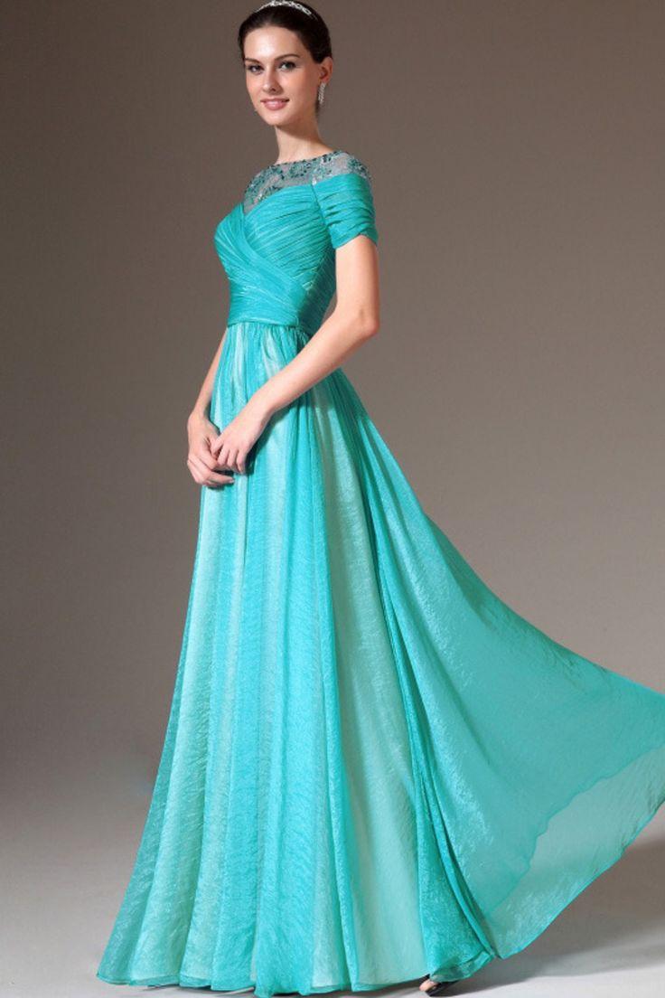 2014 Round Beaded Neckline Short Sleeve Prom Dress Ruched Bodice A Line Floor Length USD 149.99 LDPZM6L9G4 - LovingDresses.com
