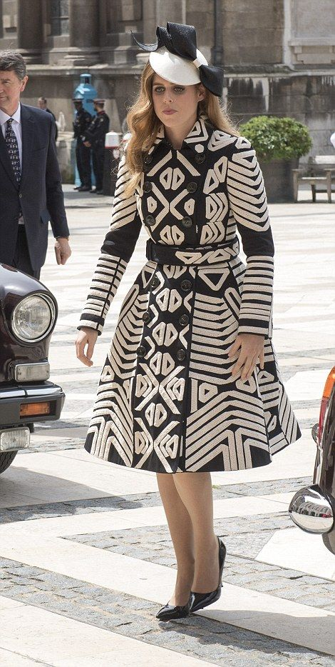 dailymail: Luncheon in Honor of Queen Elizabeth's 90th Birthday, Guildhall, June 10, 2016-Princess Beatrice in geometric print Burberry coat