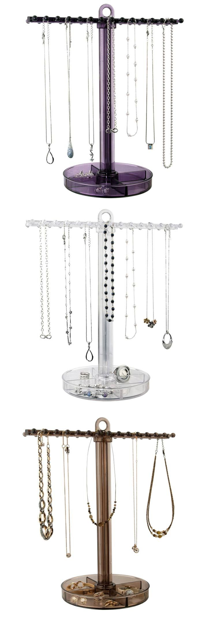 HOT NEW ITEM! Keep your necklaces and bracelets untangled and easy to find with this necklace holder and jewelry tray. The horizontal bar can hold 30 necklaces or bracelets up to 24 inches in length - including chunky ones. The base keeps small items like earrings and rings easy to find. Choose from three colors: clear, plum and sepia. Ideal for home use and displaying jewelry in retail stores and salons. Available on Amazon Prime! Price: $14.95. Overall dimensions: 14.38 inches high…