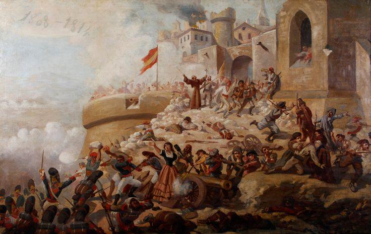 """Auction Lot: 35002127. CLAUDIO CASTELUCHO (Barcelona, 1870 – Paris, 1927).   """"La defensa de Gerona"""".  Oil on canvas.  135 x 213 cm, 140 x 217 cm (frame)."""