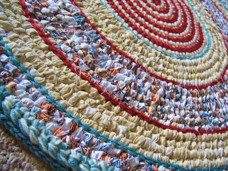 Crochet Rag Rug Toothbrush Woven Non Skid Backing Mixed Media Kitchen Folk Art
