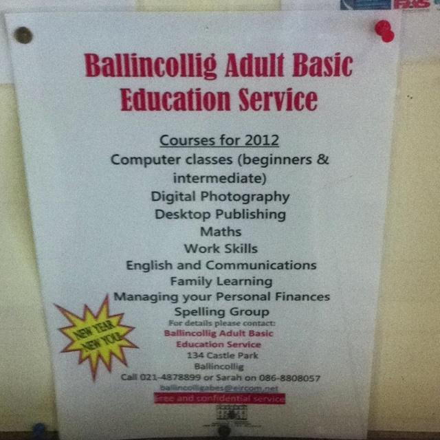 Ballincollig adult basic education courses