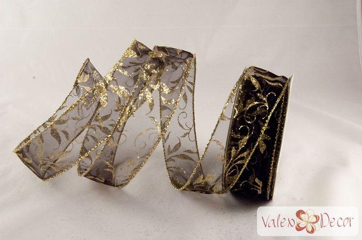 Karácsonyi organza szalag - fekete, arany indás - 38mm x 9,1m - Valex Decor Kft. | Virágkötészeti kellékek és dekorációk webáruháza