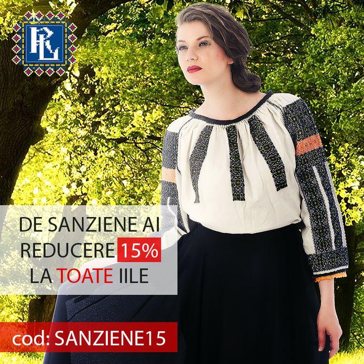 De Sanziene, poarta IE cu madrIE! Doar azi ai 15% REDUCERE la toate iile! Intra pe www.romanianlabel.ro si alege din zeci de modele.