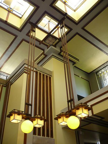 Chapter 22: Unity Temple in Chicago, Illinois. Interior and lighting detailing. Architect, Frank Lloyd Wright. Myan/Aztec influence.