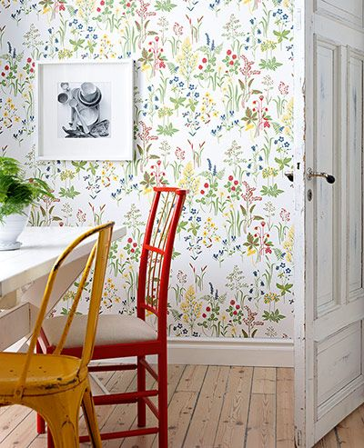 Love this Sandbergs wallpaper  www.sandbergab.se White skirting, wooden floors,