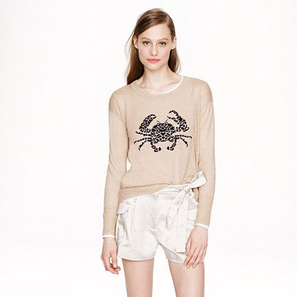 J.Crew - Linen embroidered crab sweater