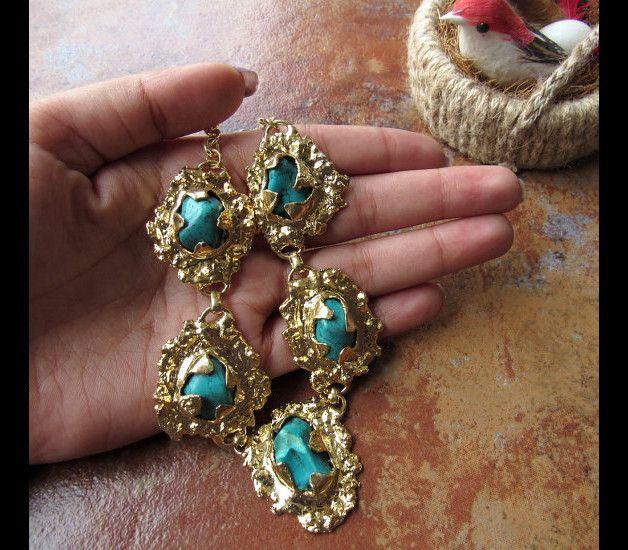 Diese Auflistung ist für Türkis und Goldhalskette / Edelstein-Halskette / Bubble Halskette / Kollier / Statement Halskette - GN28   Produkttyp: Edelstein-Statement Halskette  Edelstein: Lab...