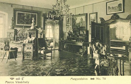 Meggyesfalva:Lázár-Bissingen kastély,dolgozószoba.1907
