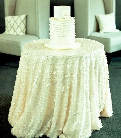 WHITE SEQUIN TABLECLOTH Select Your Size Sparkly by MyModernHome, $110.00