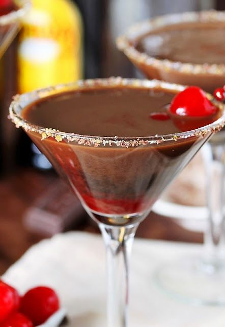Chocolate Covered Cherry Martinis with Chocolate Sugared Rim image