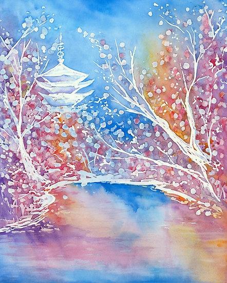 japanese watercolor landscape - Google Search