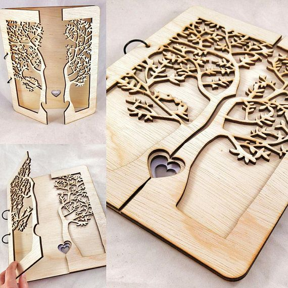 Tree of Life Wooden Guestbook Wedding Guestbook Layered