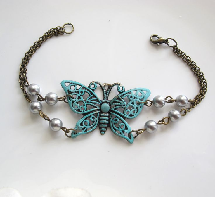 Vintage Inspired Large Patina Butterfly Filigree