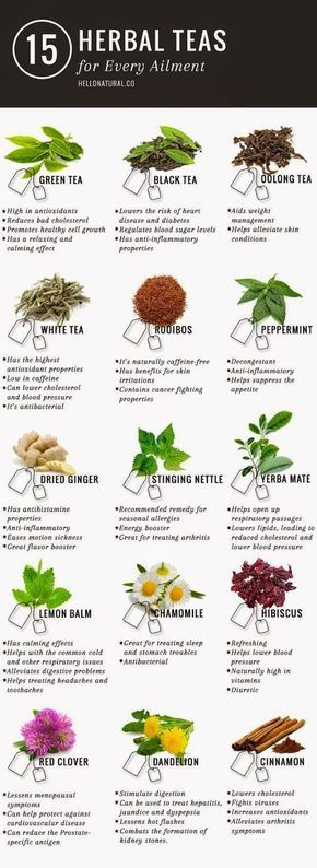 Green tea is not the only tea with promising (and according to many sources, PROVEN) health benefits. This infographic illustrates and describes 14 other healing herbal teas. http://www.detoxmetea.com