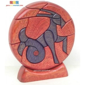 Wooden sculpture - Capricorn zodiac handcarved from ishpingo Amazon wood. Peruvian artwork. US $ 48.00 free shipping from peruincamarket