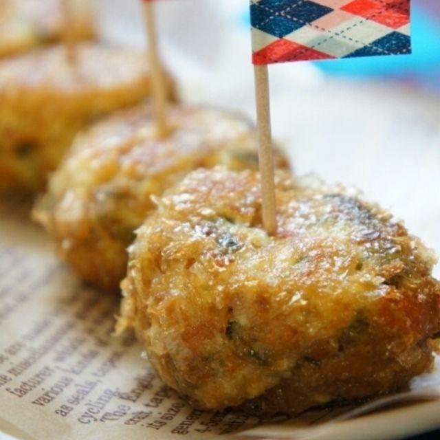 お勧め度高し!シソ香る~豆腐と蓮根とちくわのシャキふわ♪おかかボール・超簡単レアチーズ