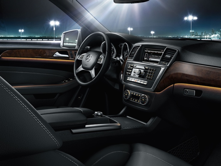 Mercedes benz ml350 interior shown with black leather and for Mercedes benz leather