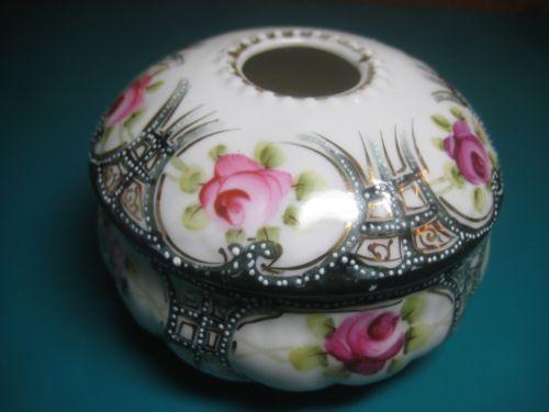 "3 5"" Nippon Hair Receiver Box Dish Moriage Rose Porcelain Japanese Hand Painted | eBay"