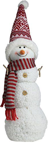 Felices Pascuas Collection 21.5 inch Snowman with Red and Gray Striped Scarf Christmas Tabletop Decoration
