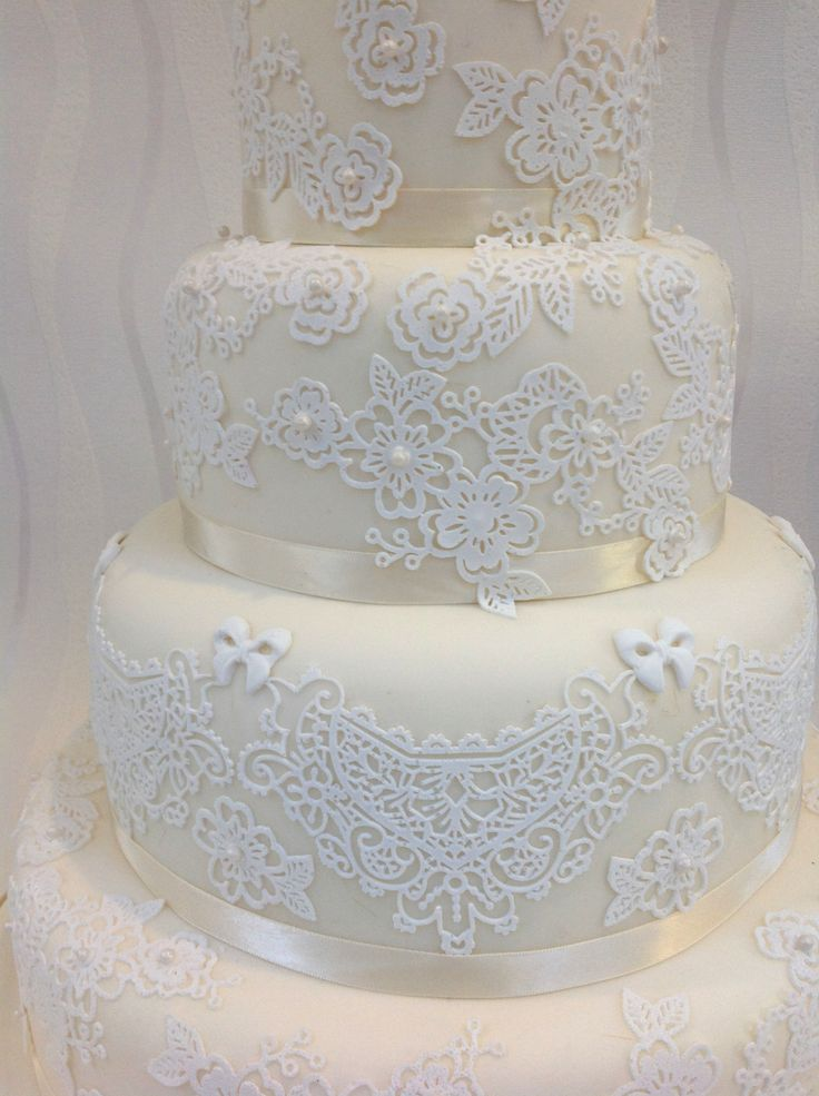 22 best images about pastel wedding cakes on pinterest for Lace templates for cakes