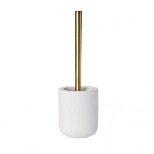 Mette Ditmer Yin Yang Toilet Brush Holder White / Brass Handle