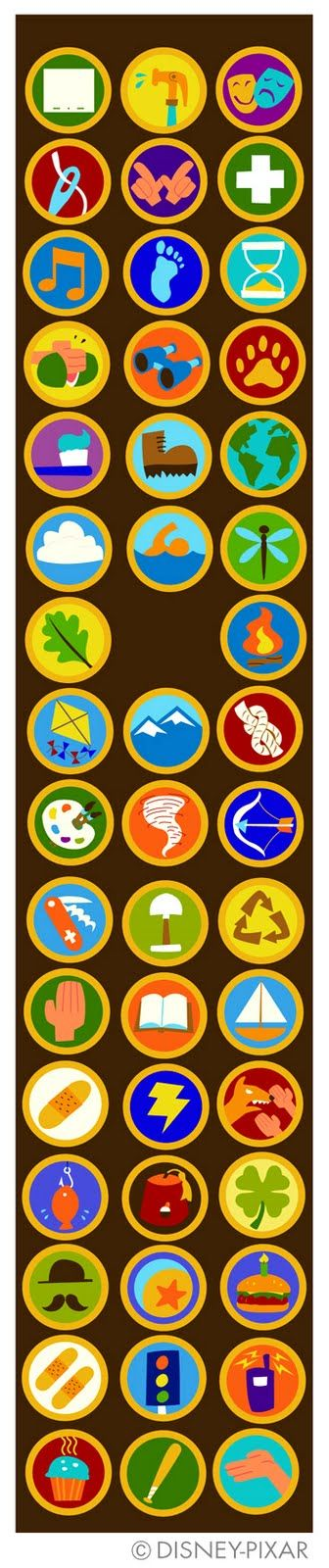 "Russell's merit badges from the Pixar movie ""Up"", adapted for Disney Wilderness Explorers badging system, via Mozilla Open Badges."