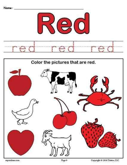 FREE Color Red Worksheet Worksheets, Activities